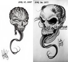 Skull Tattoo- Then and Now by GeeFreak