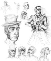 Javert + random others sketchdump (Les Miserables) by dawnsio-ar-y-dibyn