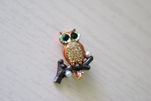 Tiny Owl Brooch by MonsterBrandCrafts
