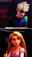 Jack Frost and Rapunzel by jellybreaker