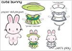 cute bunny paper doll by chickiecherry