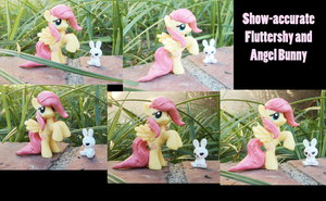Show-Accurate Fluttershy and Angel Bunny blingbags by The-Clockwork-Crow