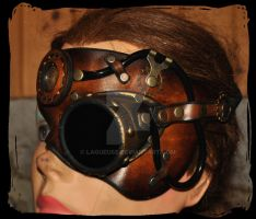 leather half mask steampunk by Lagueuse