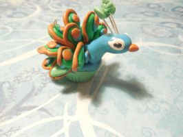 Peacock Cupcake Polymer Clay by hellopancake