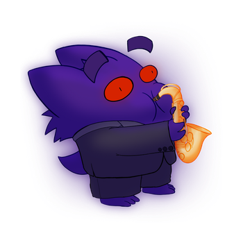 A Gengar in a Tuxedo Playing the Saxophone by ProfessorBroomhead