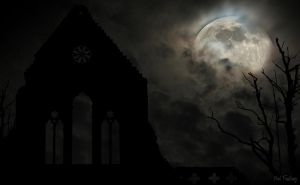 Dark ruin of an abbey against a moonlit sky - no 2 by Sad-Fantasy