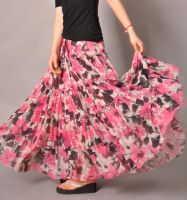 Pink White Brown Floral Skirt1 by yystudio
