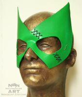 green leather hero mask with black stitching by nondecaf