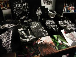 snapshot of my home desk and a lot of my originals by Blasterkid