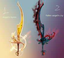 weapon adopt 01 02, Angel curved swords by ElkaArt