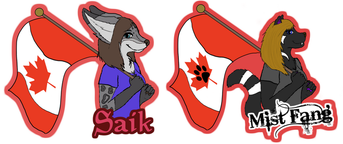 Canada Day Badges Saik and Mist Fang by Mist-Fang