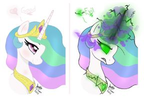 MLP FIM - Princess Celestia Good And Evil by Joakaha