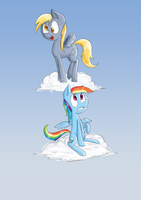 Derpy and Rainbow Dash by Voids-Edge