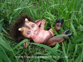 Baby Satyr Plays in the Cool Grass by briescha