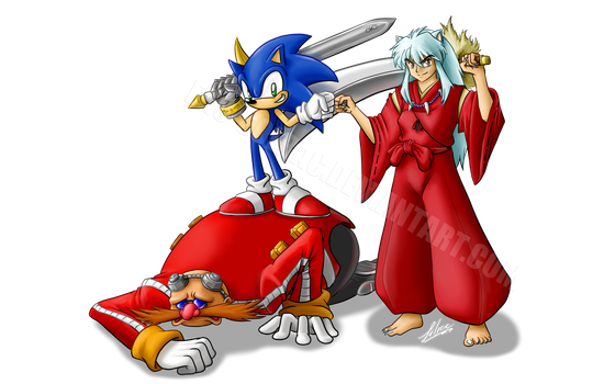 Commission for BluQuer: Sonic and Inuyasha by Ero-Solrac