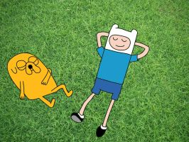 Finn and Jake after a mission by AngeloCN