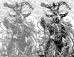 Spawn and Spidey inks by JWadeWebb