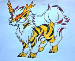 Project Fakemon: Mega Arcanine (colored) by XXD17