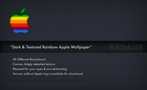 Dark and Textured Rainbow Apple Wallpaper by shod4n
