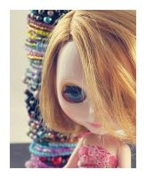 Blythe with tower of bracelets by hell0z0mbie