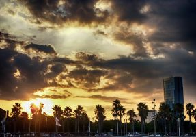 Sunset Over Barcelona by Life-For-Sale