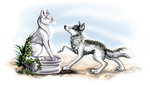 003 - marble fox and marble fox by SheriBonBon