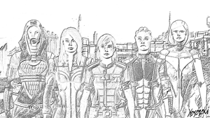 Mass Effect - Crew Sketch on Eden Prime by hososoki