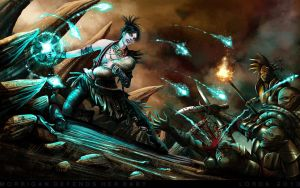 Morrigan defends her baby by LordaGoran