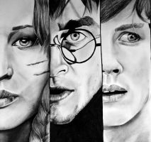 Katniss, Harry and Percy by EQzazart