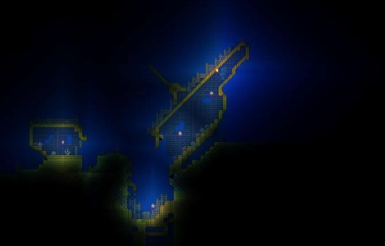 Terraria Sunken Ship by XploSlime7