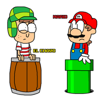 El Chavo meets Mario by Enophano