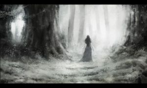 Luthien in the woods of Neldoreth by namusw