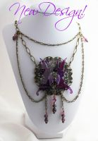 Callisto Necklace with Purple Colleen Fairy Wings by glittrrgrrl