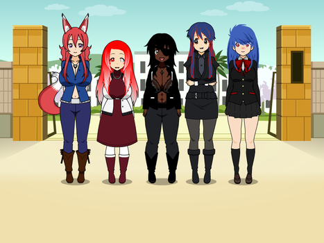Kisekae Collab - Gwen meets my OC characters by TriadSentuary