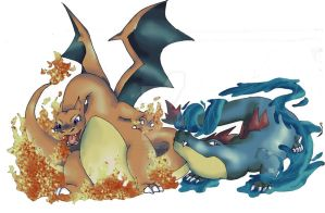 Charizard Feraligatr by EveHarding92