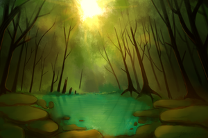 Forest lake by Whippe