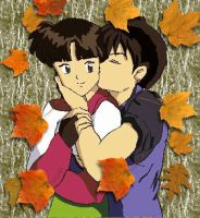 Miroku Sango Kiss on Cheek by Homework-Ate-Me