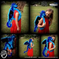 Blue Poseable Dragon Backpack by SonsationalCreations