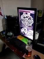 Jimrocks Computer with King Cobra Beer Tall Screen by OgJimrock