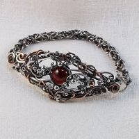 Diana Bracelet in Sterling Silver, Copper, Garnet by Wiresculptress