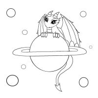 Space Dragon Line-Art Contest DA by PeziCreation