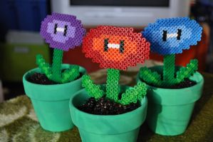 Beads - Mario power flowers by Oggey-Boggey-Man