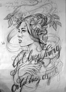 First Pencil Sketch for a Tattoo by UptownPete