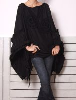 Black Linen Cotton Cape 2 by yystudio