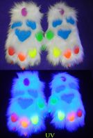 Rainbow UV paws by DrakonicKnight