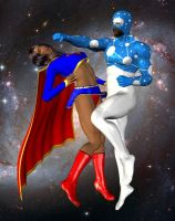 Supergirl vs Captain Universe by cattle6