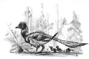 Archaeopteryx and chicks by dustdevil