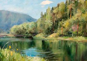 Etude. Pike lake. Canvas, oil by onpumi