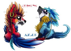 Crimson and Azure chibi by RonTheWolf