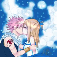 Nalu Cloudy kiss (colour) by lilKitty09
